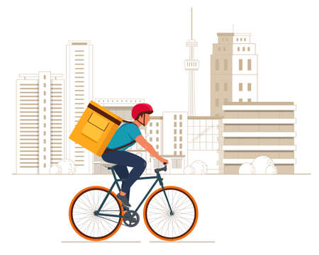 Delivery boy on bicycle with yellow backpack