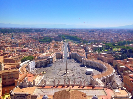 A view above Rome from the dome of St.Peters Basilica