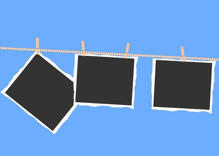 Torn photos hanging on a rope with clothespins on a blue background.