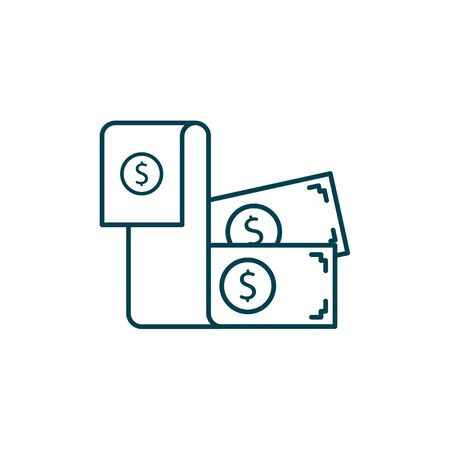 Dollar bill vector illustration. Startup and new business filled outline icon.