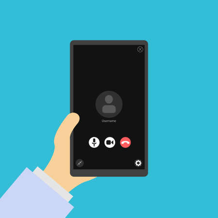 Phone in hand, video call. Video conversation icon. Video conference. Layout of video conferences and online meetings