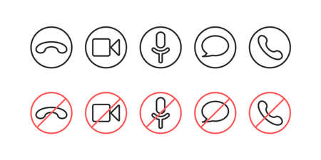 Video call icons set. A set of video call icons Ilustrace
