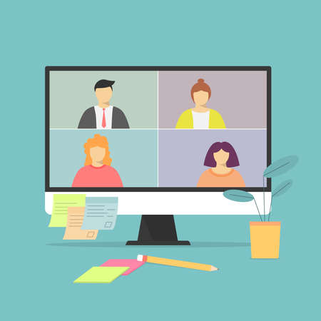 Video call on the notebook screen with people. Business call. Negotiations . Vetores