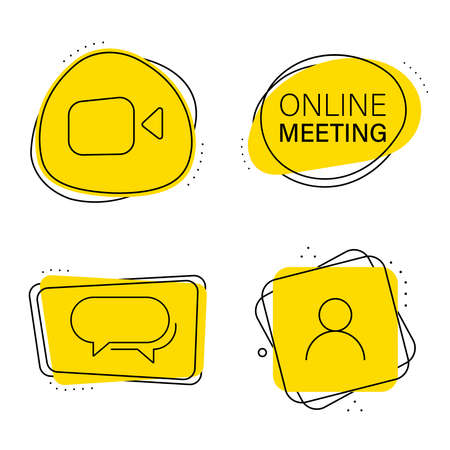 Set of video call stickers, conferences with icons.