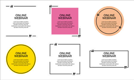Set of online webinar stickers with quote.