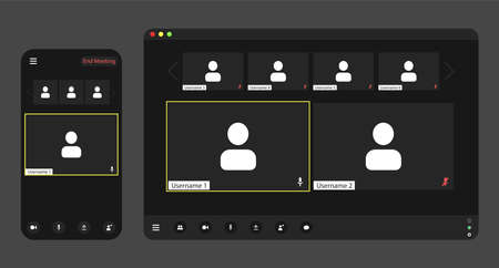 Template video conference user interface on realistic phone and tablet, video conference calls window overlay. Ilustración de vector