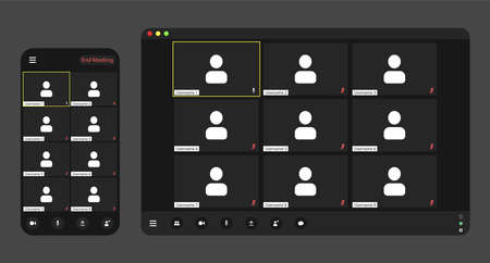 Template video conference user interface, video conference calls window overlay. Eight-Nine users. Ilustración de vector