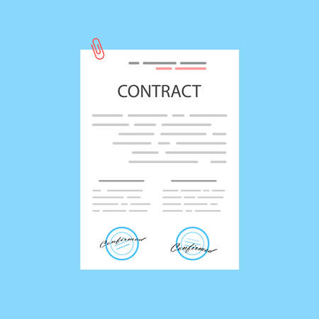 Electronic contract or digital signature concept in vector illustration. Online e-contract document sign via desktop PC. Website or webpage layout template. Vektorgrafik