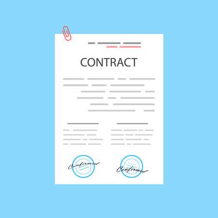 Electronic contract or digital signature concept in vector illustration. Online e-contract document sign via desktop PC. Website or webpage layout template. Vektoros illusztráció