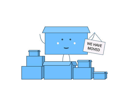 We have moved. Cartoon character box holding a sign Vector Illustratie