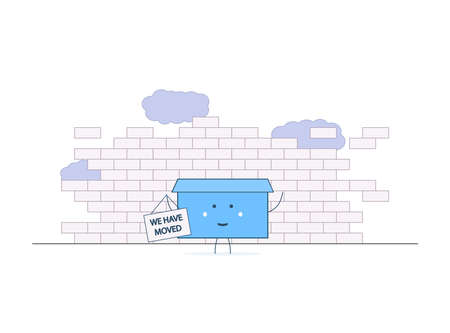 We have moved. Icon with cartoon box
