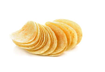 Potato chips isolated on white Foto de archivo