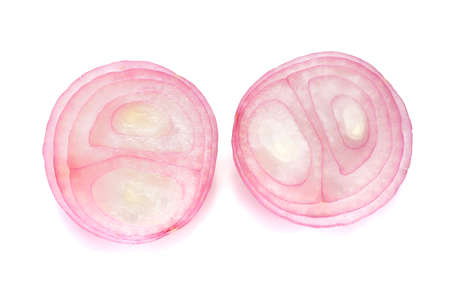 aftertaste: sliced red onion isolated on white background