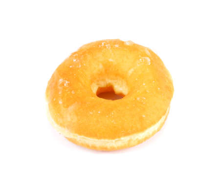 Glazed Donut on White, sugary donut isolated on a white background Stock Photo