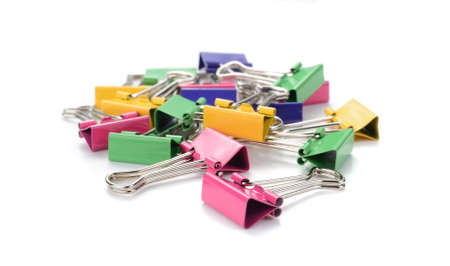 Color binder clips. Illustration on white background for design