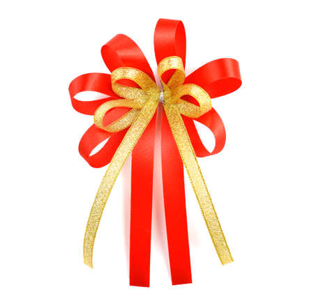 Red satin gift bow. Ribbon. Isolated on white Stock Photo