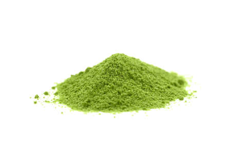 elite: powdered hill green tea isolated on white background