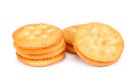 Dry cracker cookies isolated on white background cutout.Cracker isolated on white
