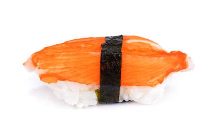 Japanese, Toro salmon or Salmon sushi nigiri isolated on white background. japan sushi surimi artificial crab Stock Photo