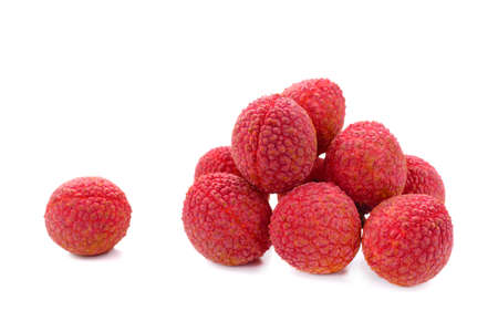 Fresh lychees (Litchi chinensis) isolated on white