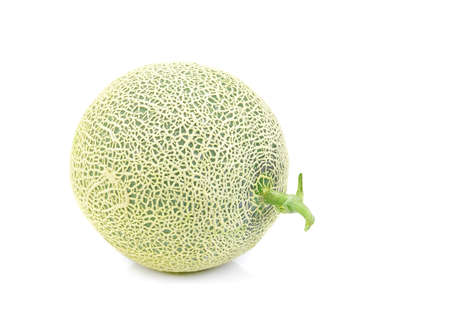 Green melon isolated on white background, Cantaloupe melons Stock Photo - 82684506