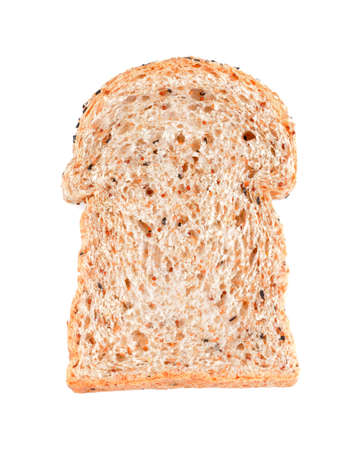 whole wheat toast: Whole grain bread Cut over white background, bread slice isolated Stock Photo