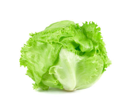 green Iceberg lettuce on white background, Fresh cabbage isolated, baby cos Archivio Fotografico