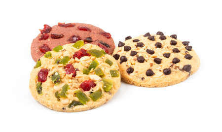 round cookies with dried fruit isolated on white background