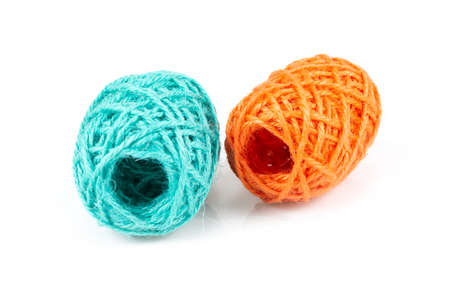 Colorful of Yarn Balls Wool on white