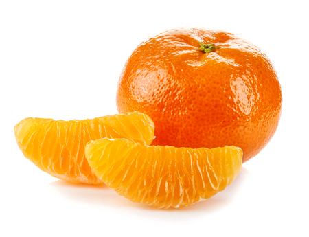 orange peel clove: Mandarin orange or tangerine with slices on white background, isolated