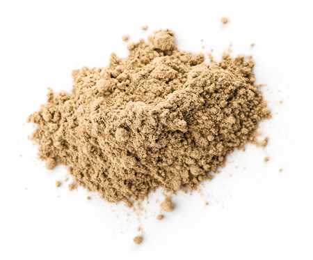 Maca powder on white background, isolated, top view