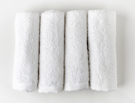 white towels: White spa towels, top view Stock Photo