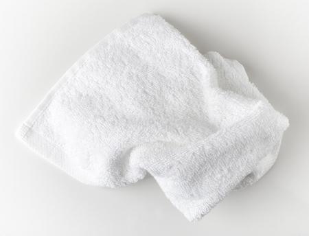 white towel: White spa towel, top view