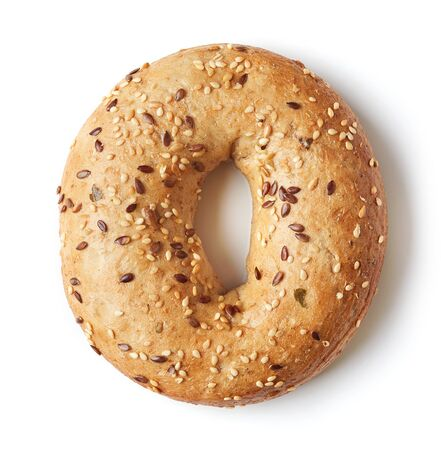 isolation: Fullgrain bagel with seeds isolated on white background Stock Photo