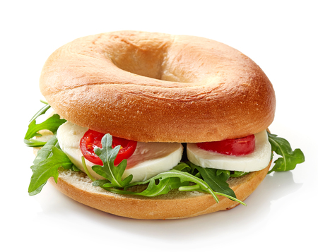 multi grain sandwich: Fresh bagel sandwich isolated on white background Stock Photo