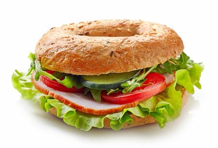 Fresh bagel sandwich isolated on white background Archivio Fotografico