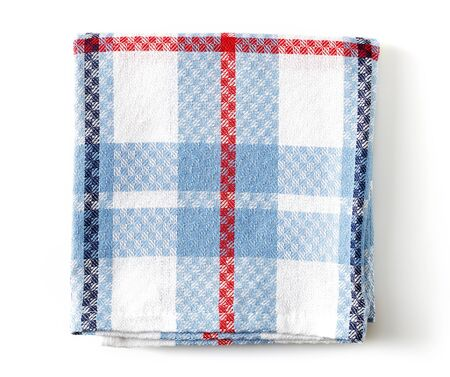 Kitchen towel isolated on white background; top view