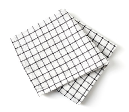 Squared kitchen towel isolated on white background, top view