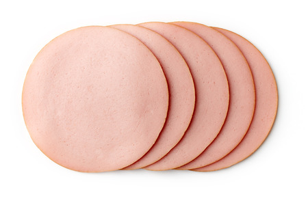 Sliced boiled ham sausage isolated on white background, top view
