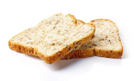 multi grain: Slice of multi grain bread with seeds isolated on white background Stock Photo