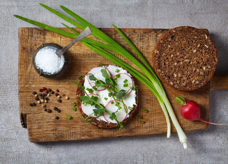 multi grain: Healthy sandwiches with multi grain bread, cream cheese and greens, top view