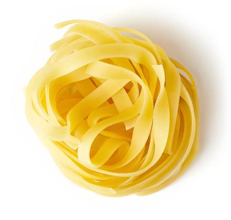 Egg pasta nest isolated on white background, top view Standard-Bild