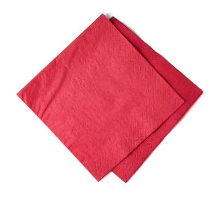 red paper napkins isolated on white background