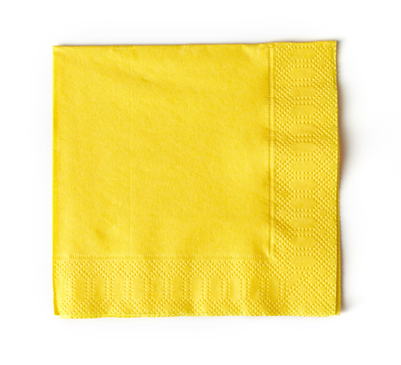 yellow paper: yellow paper napkin isolated on white background Stock Photo