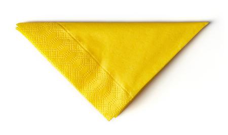 yellow paper napkin isolated on white background Stock Photo