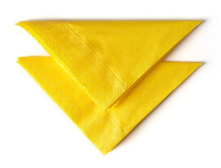 yellow paper napkins isolated on white background Stock Photo