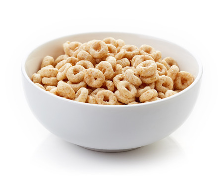 Bowl of Whole Grain Cheerios Cereal isolated on white background