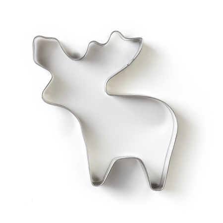 cooking implement: Reindeer shape gingerbread cookie cutter isolated on white background, top view