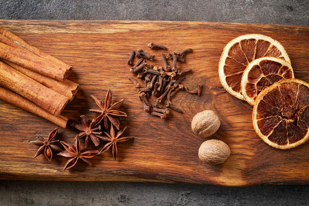 pastry cutters: Christmas spices and ingredients for christmas cookies, top view