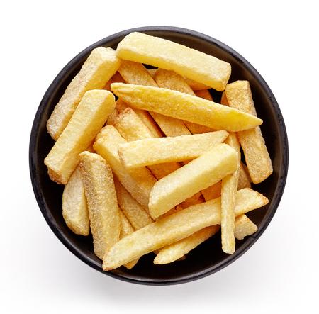 Ciotola di patatine fritte isolato su sfondo bianco, vista dall'alto Archivio Fotografico - 76769428